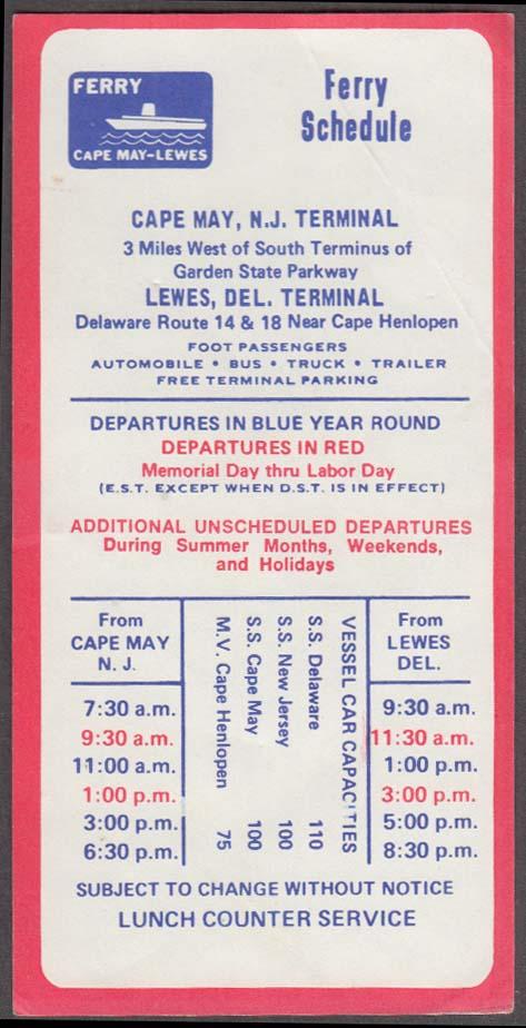Cape May NJ - Lewes DE Ferry Schedule 1 1971