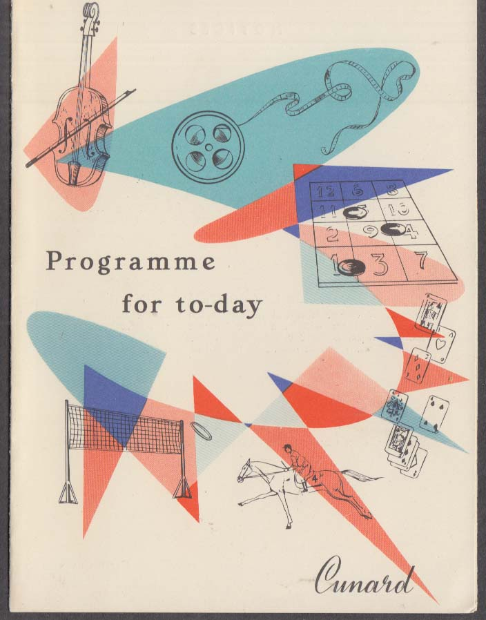 Cunard Line RMS Queen Elizabeth Programme for the Day 8/10 1958