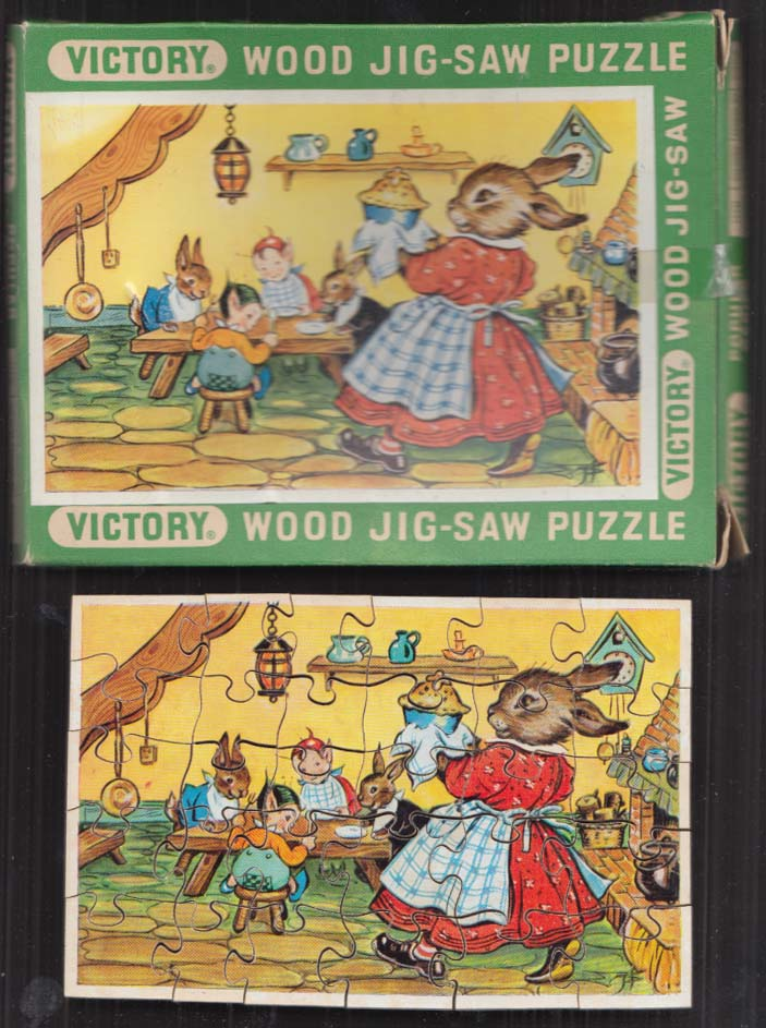 G J Hayter Victory Jig-Saw Puzzle in original box Mother Bunny serves pie 1950s