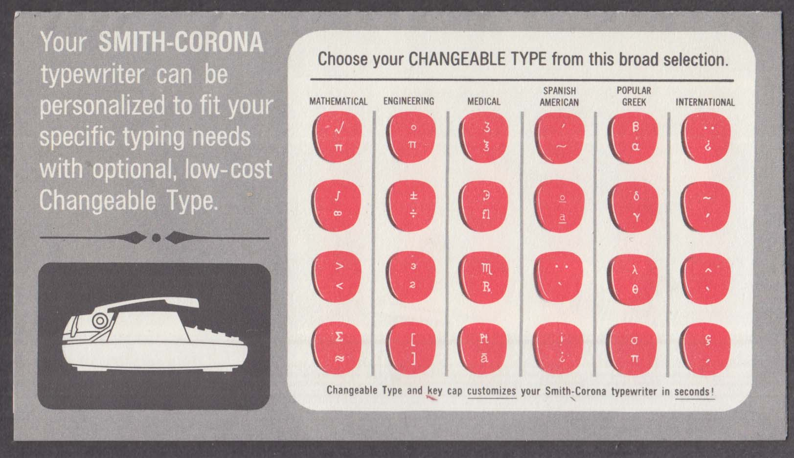 Smith-Corona Typewriter Changeable Type folder order form 1983