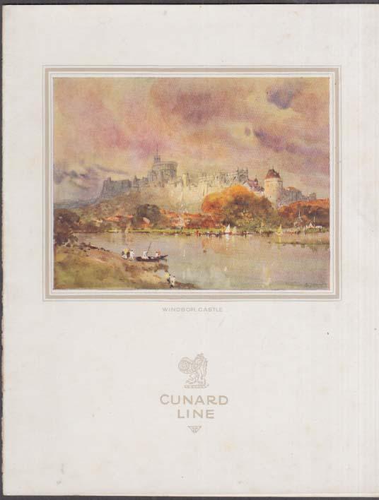 Cunard Line R M S Franconia Luncheon Menu 8/6 1933
