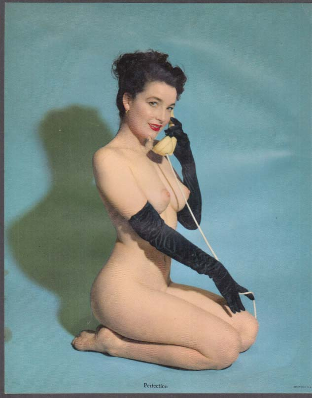 "Nude brunette on the telephone ""Perfection"" calendar pin-up print 1950s"