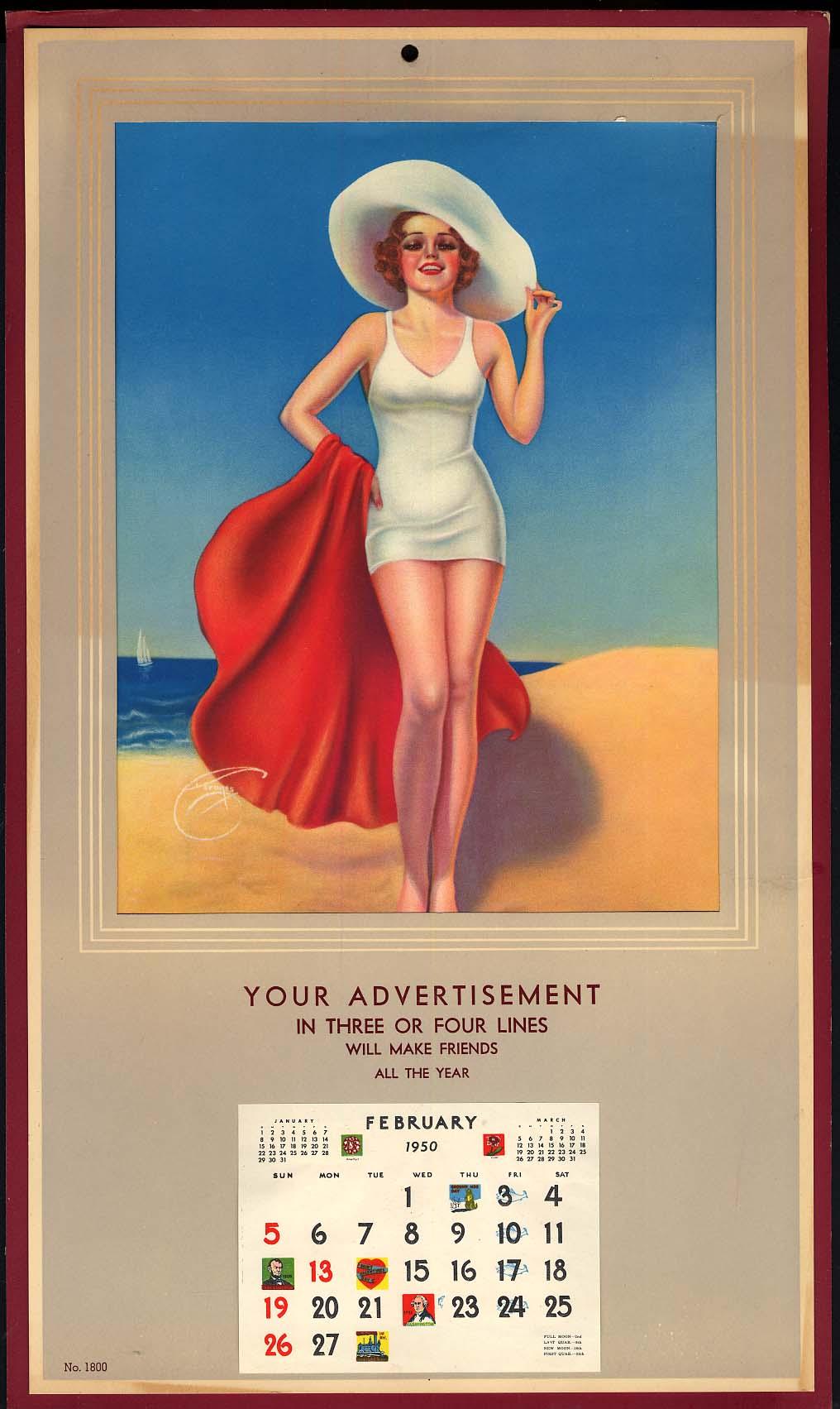 Billy De Vorss pin-up calendar white swimsuit salesman's sample 1950