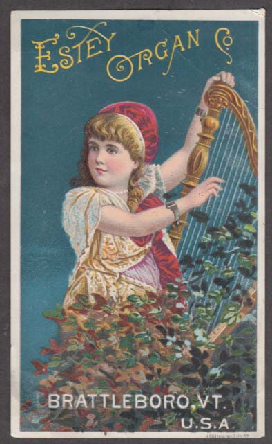 Estey Organ Company trade card Brattleboro VT 1880s girl plays harp