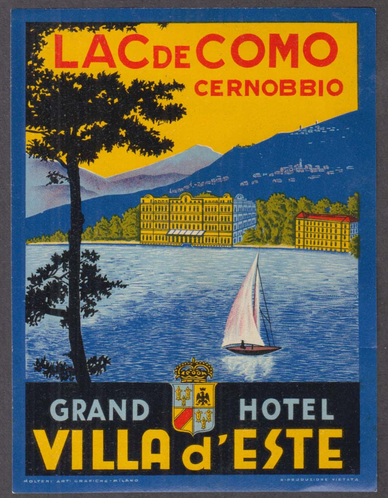 Villa d'Este Grand Hotel Lac de Como Cernobbio baggage sticker c 1930s Lake Como