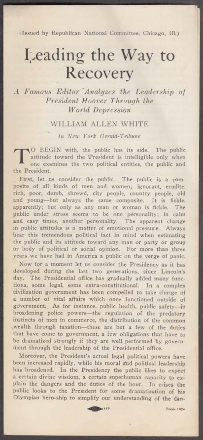 William Allen White: Leading the Way to Recovery Hoover campaign folder 1932