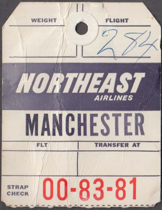 Northeast Airlines flown baggage check MHT Manchester NH 1960s