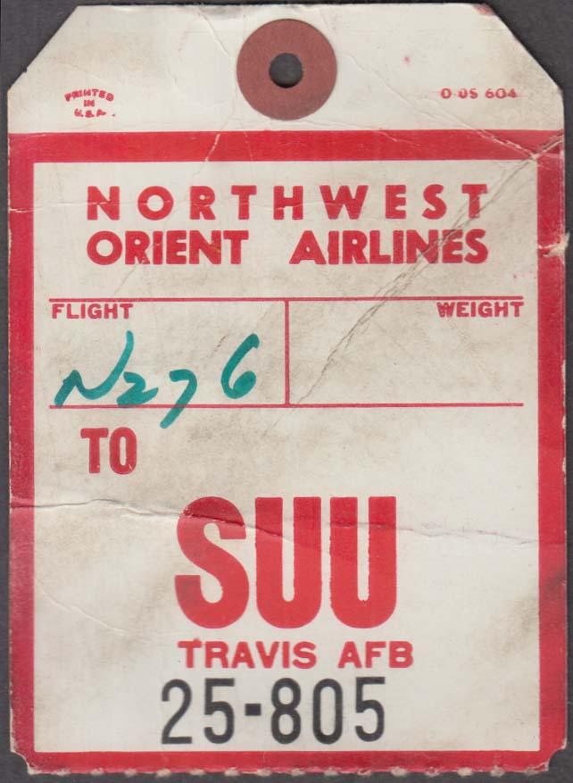 Northwest Orient Airlines flown baggage check SUU Travis AFB 1960s