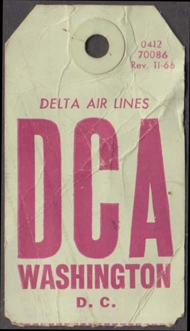 Delta Air Lines flown baggage check DCA Washington National 11-1966