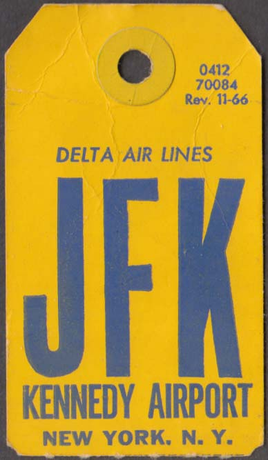 Delta Air Lines flown baggage check JFK Kennedy Airport 11-1966