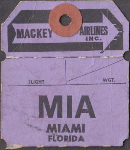 Mackey Airlines flown baggage check Nassau-MIA Miani 1960s