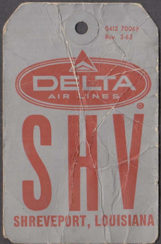 Delta Air Lines flown baggage check SHV Shreveport LA 3-1963
