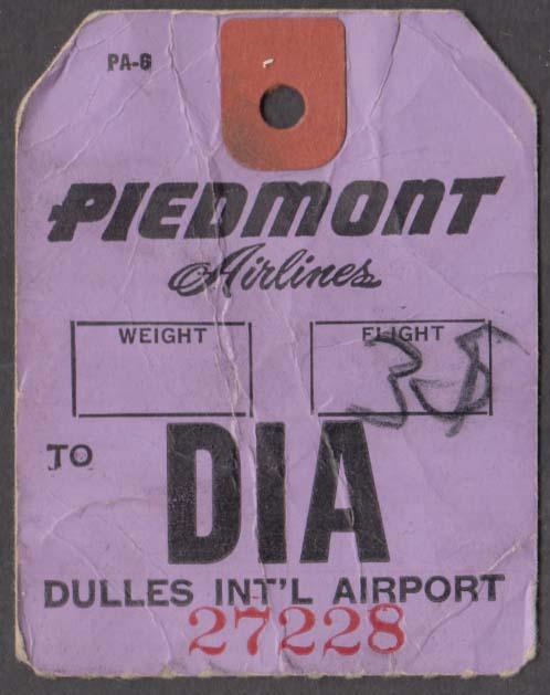 Piedmont Airlines flown baggage check DIA Dulles Washington DC 1960s