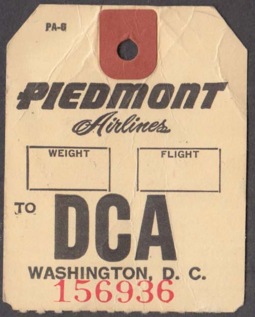 Piedmont Airlines flown baggage check DCA Washington National 1960s