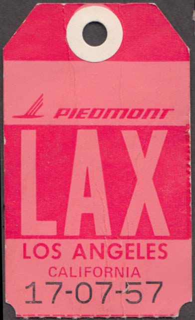 Piedmont Airlines flown baggage check LAX Los Angeles 1960s
