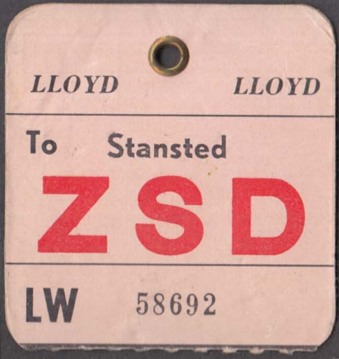 Lloyd International Airways flown baggage check ZSD London-Stansted 1960s