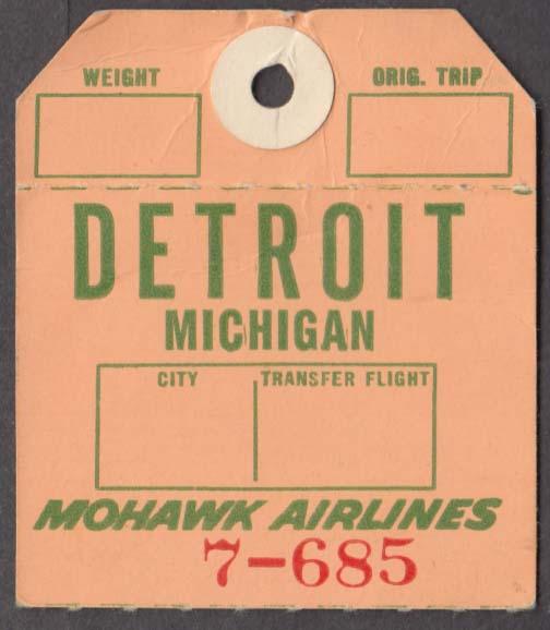 Mohawk Airlines flown baggage check DTW Detroit 1960s