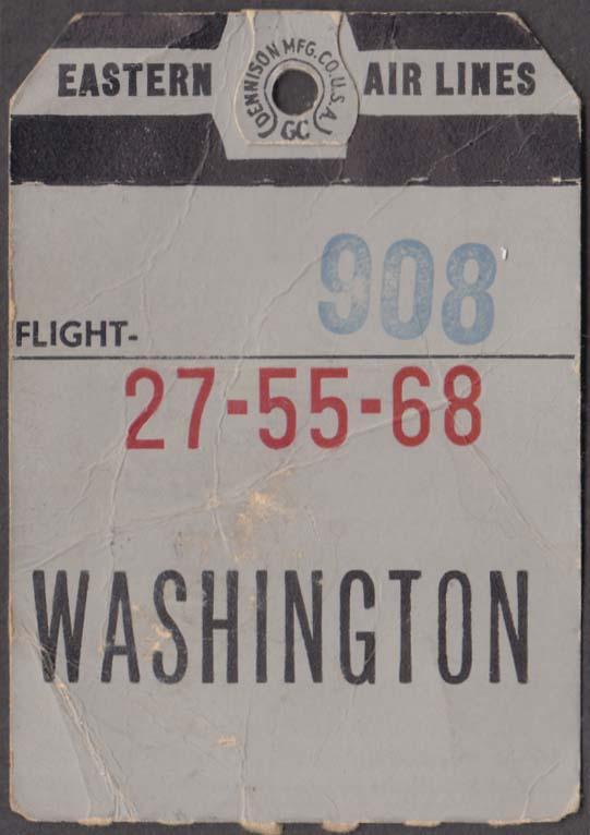 Eastern Air Lines flown baggage check Bermuda-DCA Washington National 10-1961