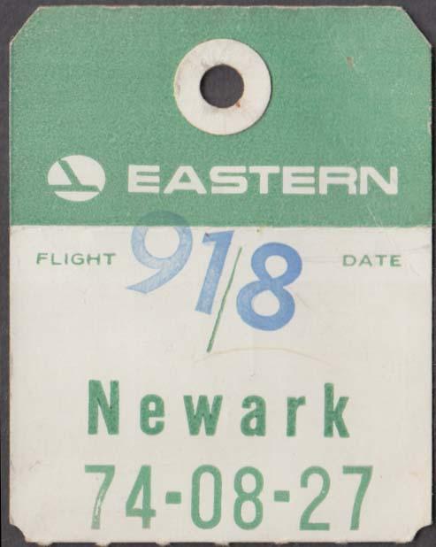 Eastern Air Lines flown baggage check Bermuda-EWR Newark Flt 198 1960s