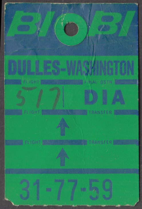 Braniff Airlines flown baggage check EWR-FTO-DIA Dulles 11-1966