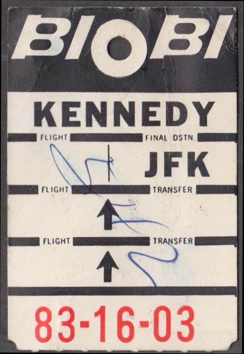 Braniff International Airlines flown baggage check SAT San Antonio-JFK 11-1966