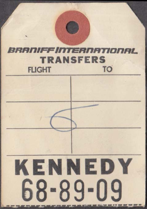 Braniff International Airlines flown baggage transfer check DAL-JFK 9-1965