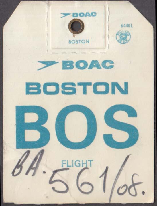 British Overseas Airways Corporation BOAC flown baggage check BOS Boston 1960s