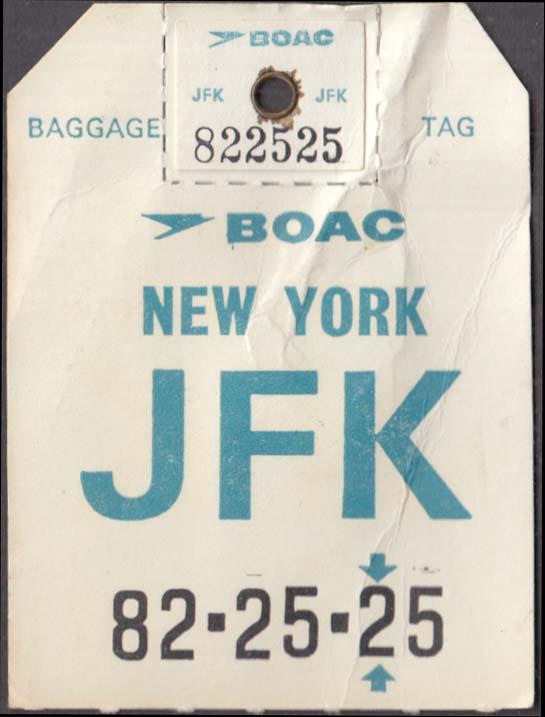 British Overseas Airways Corporation BOAC flown baggage check BA533 JFK 1960s