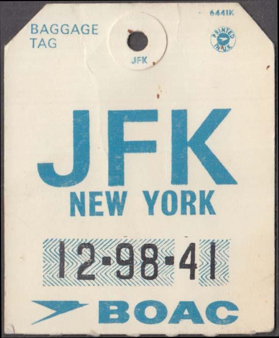 British Overseas Airways Corporation BOAC flown baggage check BA 537 JFK 1960s