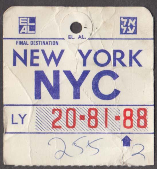 El Al Israel Airlines flown baggage check NYC New York 1960s