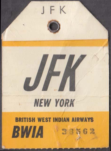 BWIA West Indies Airways flown baggage check JFK NY 1960s