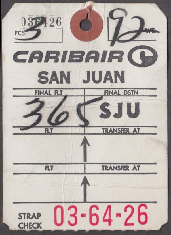 Caribair Airlines flown baggage check SJU San Juan PR 1960s