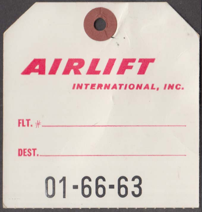 Airlift International Airlines flown baggage check no marked destination 1960s