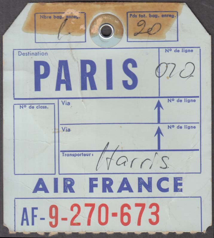 Air France airlines flown baggage check PARIS 1960s