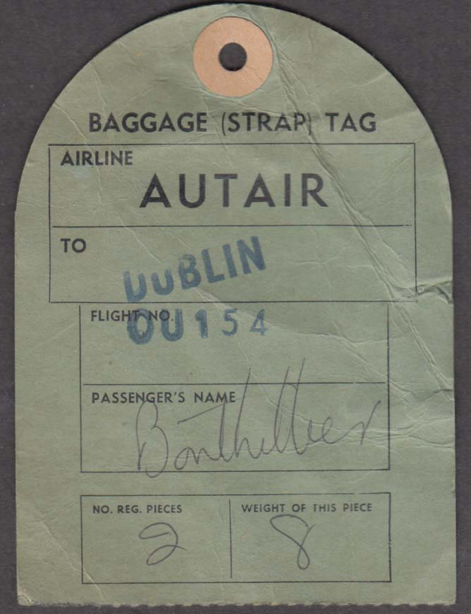 Autair International Airlines flown baggage check DUBLIN 1960s