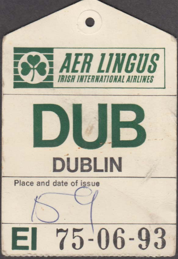Aer Lingus Irish International Airlines flown baggage check DUB Dublin 1960s