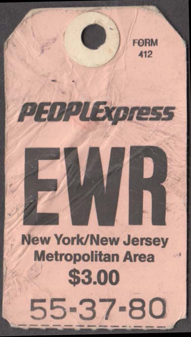 PeoplExpress People Express Airlines flown baggage check EWR Newark 1980s
