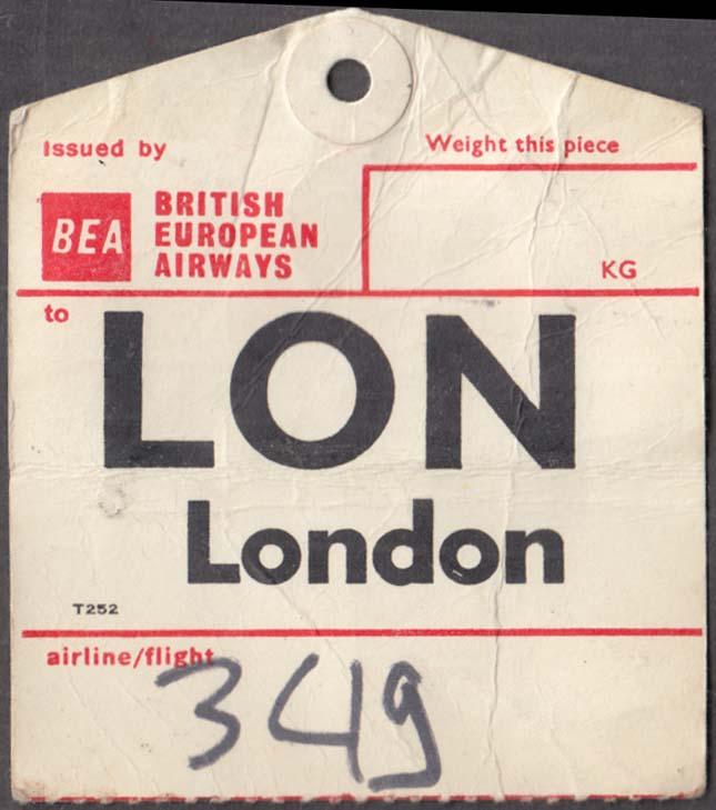 BEA British European Airways flown baggage check LON London 1960s