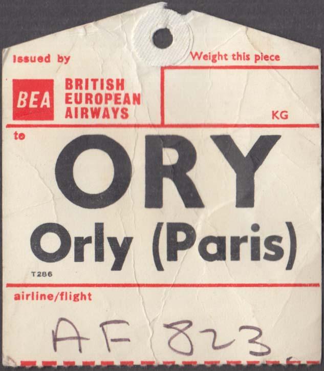 BEA British European Airways flown baggage check ORY Paris-Orly 1960s