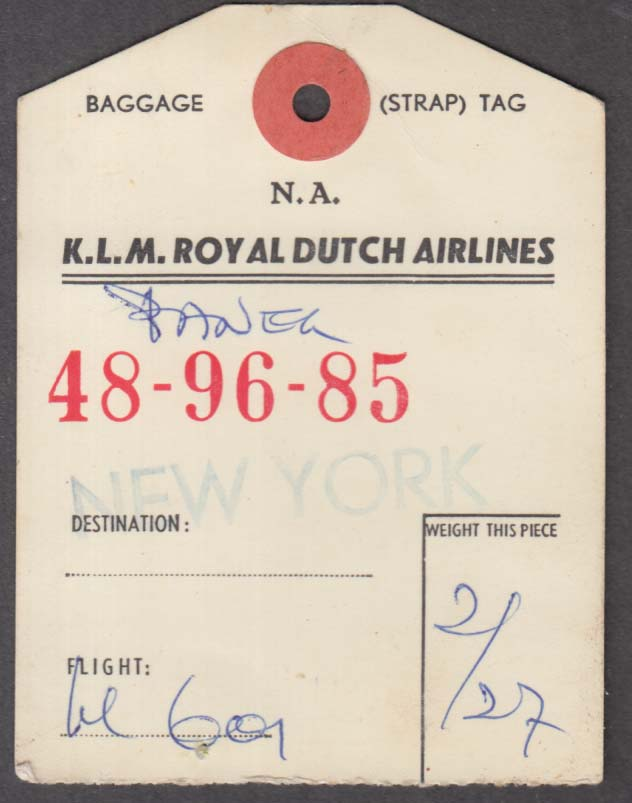 KLM Royal Dutch Airlines flown baggage check Schiphol-NY 1960s