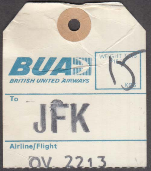 British United Airways BUA flown baggage check JFK 1960s