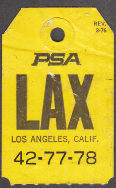 PSA Pacific Southwest Airlines flown baggage check LAX Los Angeles 3-1976