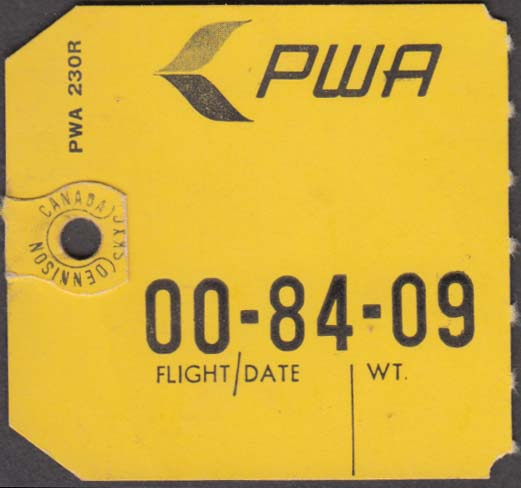PWA Pacific Western Airlines flown baggage check no destination marked 1970s