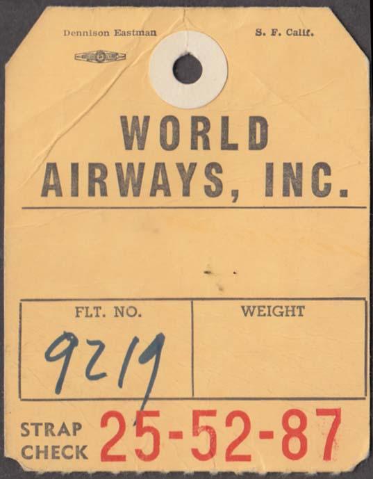World Airways Oakland CA flown baggage check no destination marked 1960s