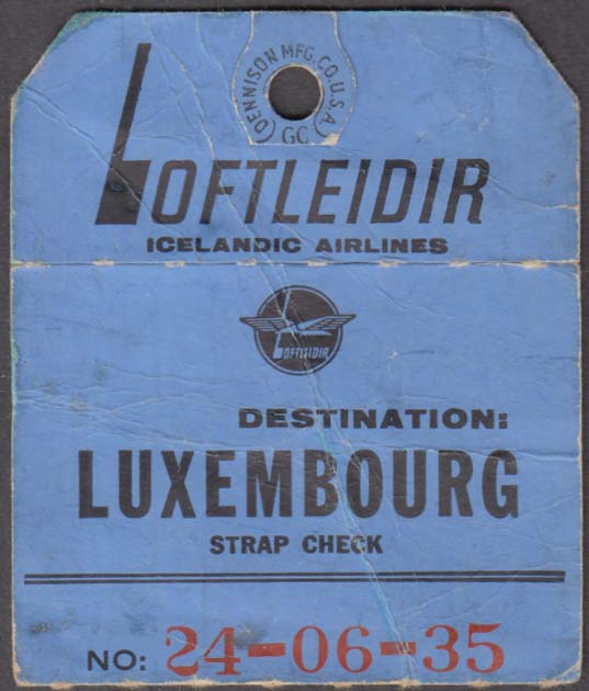 Loftleidir Icelandic Airlines flown baggage check LUX Luxembourg 1960s
