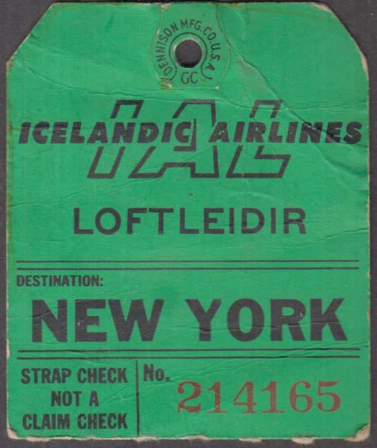 Loftleidir Icelandic Airlines flown baggage check New York 1960s