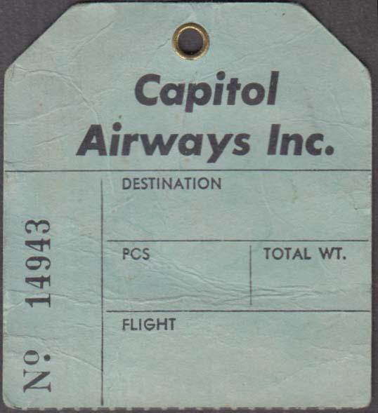 Capitol Airways Berry Field Nashville TN flown baggage check 1960s