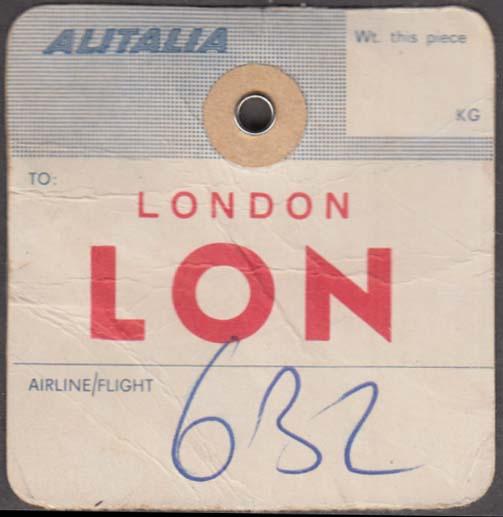 Alitalia Airlines flown baggage check LON London 1960s