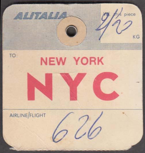 Alitalia Airlines flown baggage check Milan MXP-NYC 1960s
