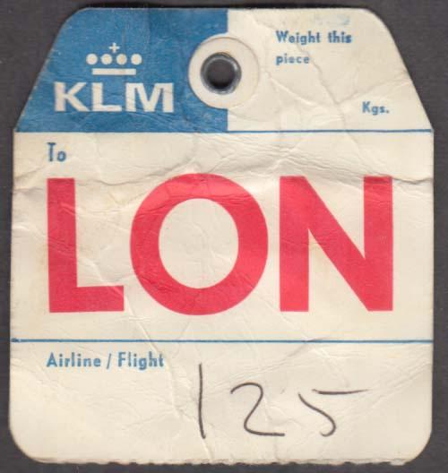 KLM Royal Dutch Airlines flown baggage check LON 1960s